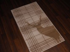 Modern Approx 4x2ft 60cm x 110cm Novelty range new checked stag beiges/cream rug